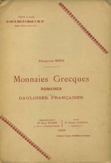 Ancient Coins - Bourgey. Collection Rous. Monnaies Grecques. Romaines, Gauloises, Francaises