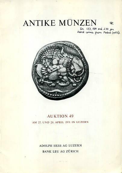 Ancient Coins - Hess-Leu Sale 49. Antike Munzen, April 1971