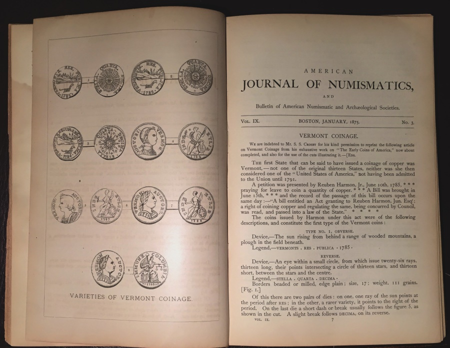 US Coins - Boston Numismatic Society: American Journal of Numismatics (Vols. XI & X Complete) Vermont Coinage