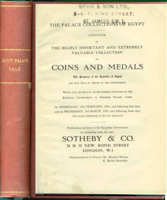 Ancient Coins - Sotheby's -  Palace Collection - King Farouk, 1954