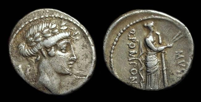 Ancient Coins - Q Pomponius Musa, c. 66 BC. AR Denarius (3.91g).
