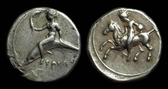 Ancient Coins - CALABRIA, Taras. AR Didrachm (7.72g), c. 415-390 BC.