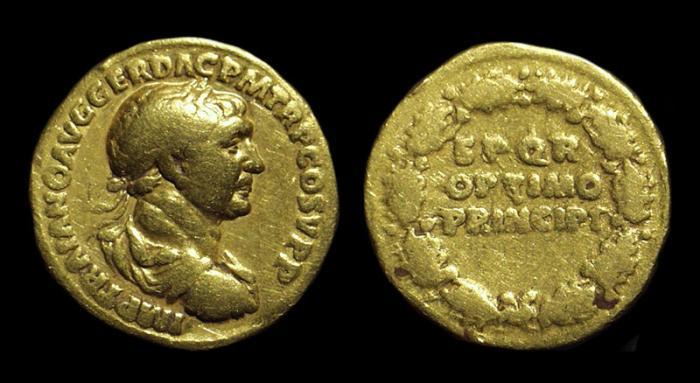 Ancient Coins - TRAJAN, AD 98-117. AV Aureus (7.02g).
