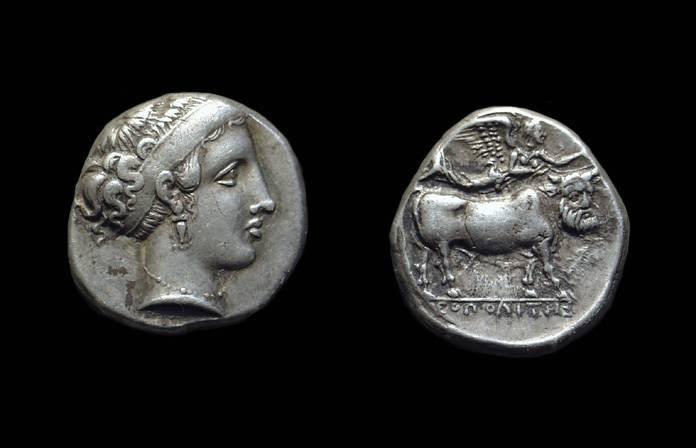 Ancient Coins - CAMPANIA, Neapolis. AR Didrachm (7.57g), c. 350-330 BC.