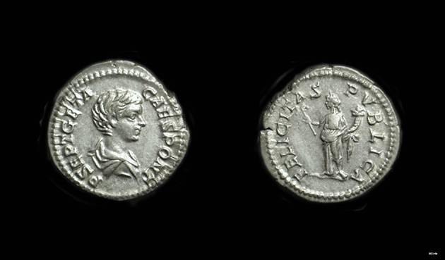 Ancient Coins - GETA, as Caesar: AD 198-209. AR Denarius (3.36g).
