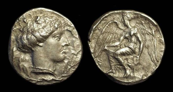 Ancient Coins - BRUTTIUM, Terina. AR Stater (7.35g), c. 425-420 BC.