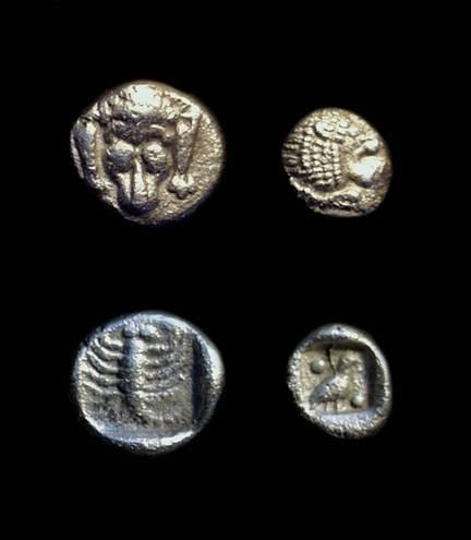 Ancient Coins - KARIA, Mylasa. AR Hemiobol (0.52g) & Tetartemorion (0.18g).