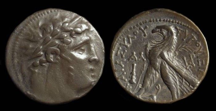 Ancient Coins - PHOENICIA, Tyre. AR Shekel (14.16g) dated Year 31 (96/95 BC)