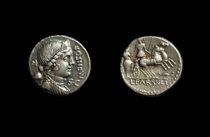 Ancient Coins - L Farsuleus Mensor, c. 76 BC. AR Denarius (3.70g). Ex Knobloch