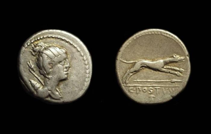 Ancient Coins - C Postumius, c. 74 BC. AR Denarius (3.74g).