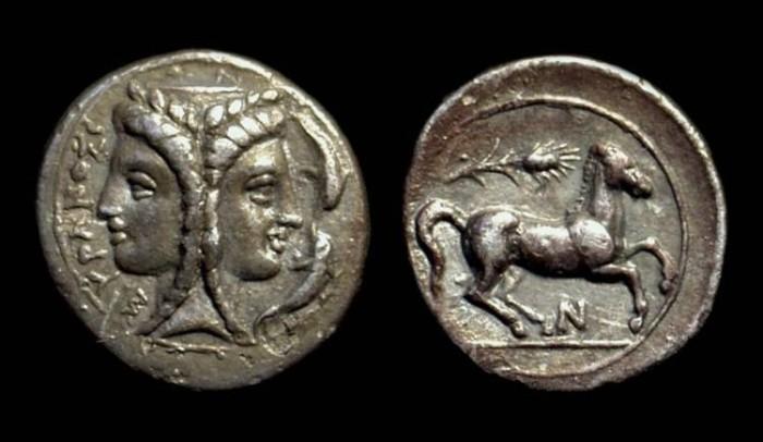 Ancient Coins - SICILY, Syracuse. AR 2-Litrai (1.51g), c. 344-317 BC.
