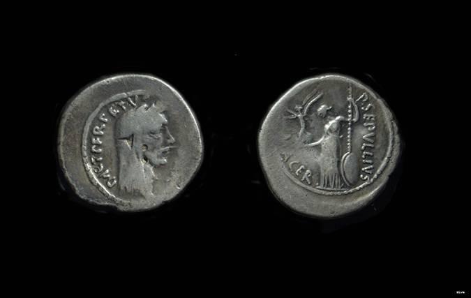 Ancient Coins - Julius Caesar, died 44 BC. AR Denarius (3.46g). last lifetime issue