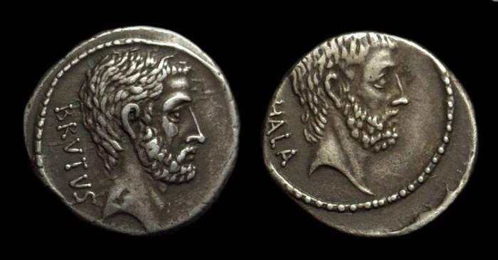 Ancient Coins - M Junius Brutus, c. 54 BC. AR Denarius (3.80g).