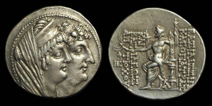 Ancient Coins - SELEUKID KINGDOM. Cleopatra Thea & Antiochos VIII, 125-121 BC. AR Tetradrachm (16.42g).