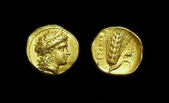 Ancient Coins - LUCANIA, Metapontion. Gold Third-Stater (2.61g), Time of Alexander the Molossian, c. 334-330 BC.
