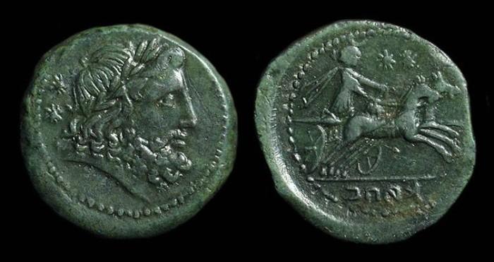 Ancient Coins - CAMPANIA, Capua. Æ Biunx (15.08g), c. 216-211 BC.