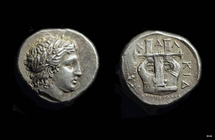 Ancient Coins - MACEDONIA, Olynthos. AR Tetradrachm (14.35g), Chalkidian League, c. 432-348 BC.