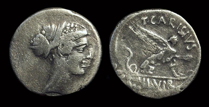 Ancient Coins - T. Carisius, 46 BC. AR Denarius (3.73g).