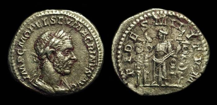 Ancient Coins - MACRINUS, AD 217-218. AR Denarius (3.20g).