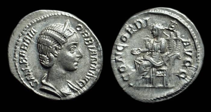 Ancient Coins - Orbiana, Wife of Severus Alexander. AR Denarius (3.16g).