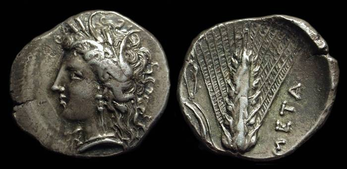 Ancient Coins - LUCANIA, Metapontion. AR Stater (7.77g), c. 330-290 BC.