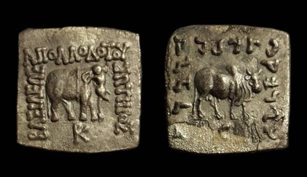 Ancient Coins - INDO-GREEK, Apollodotus, c. 174-160 BC. AR Drachm (1.68g).