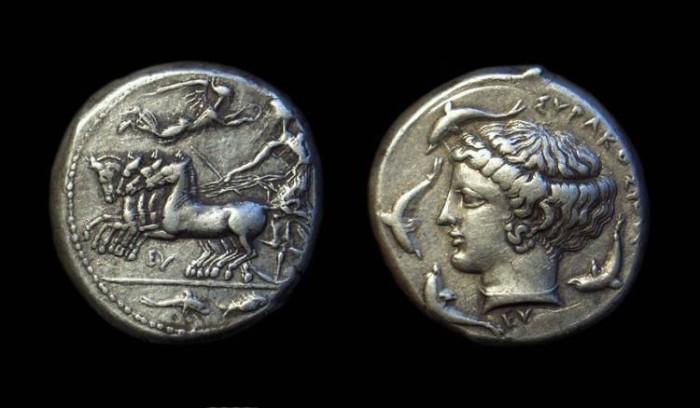 Ancient Coins - SICILY, Syracuse. AR Tetradrachm (17.34g), c. 420-404 BC.  signed by Eumenos.