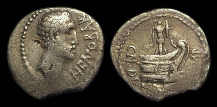 Ancient Coins - Cn Domitius Lf Ahenobarbus, c. 41-40 BC. AR Denarius (3.42g).