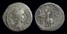 Ancient Coins - Julius Caesar, died 44 BC. AR Denarius (3.43g). Lifetime issue.