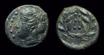 Ancient Coins - SICILY, Himera. Æ Hemilitron (3.72g), c. 415-409 BC. Ex: CNG 1998