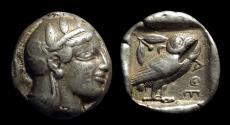 Ancient Coins - ATTICA, Athens. AR Tetradrachm (17.18g), c. 465-454 BC.  Starr V variety.