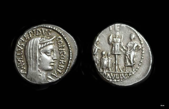 Ancient Coins - L Aemilius Paulus, c. 62 BC. AR Denarius (3.75).