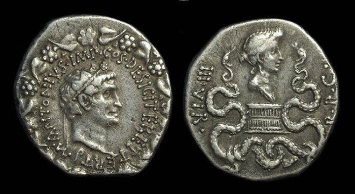 Ancient Coins - Marc Antony with Octavia. AR Cistophorus (12.14g), Ephesus, 39 BC.