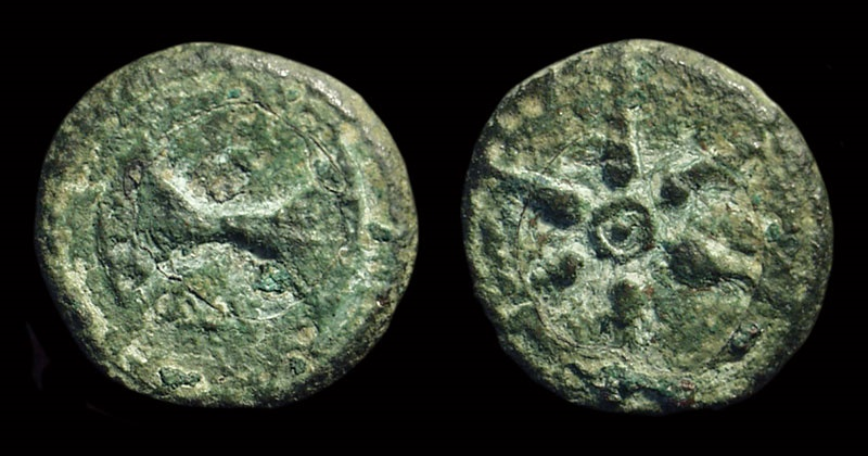 Ancient Coins - ETRURIA, Uncertain mint. Æ Semiuncia (4.58g), c. 350-280 BC.
