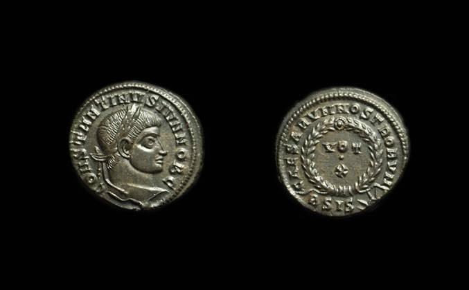 Ancient Coins - CONSTANTINE II as Caesar: AD 317-337. Æ Quarter-Follis (3.12g).