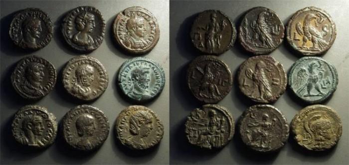 Ancient Coins - ROMAN EGYPT. Lot of 9 tetradrachms, c. AD 3rd c.