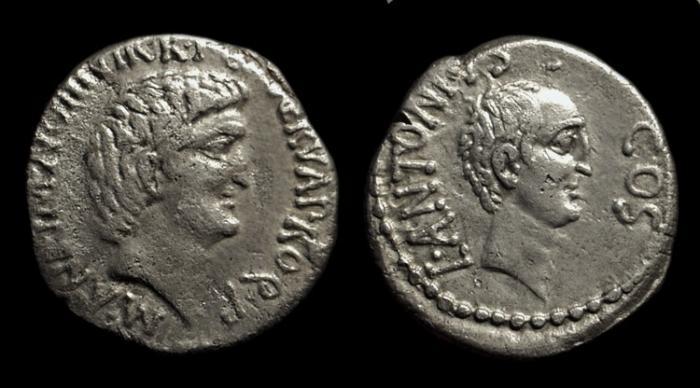 Ancient Coins - Marc Antony with Lucius Antony. AR Denarius (3.58g), c. 41 BC.