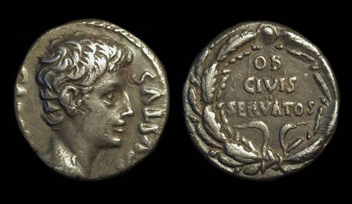 Ancient Coins - AUGUSTUS, 27 BC-AD 14. AR Denarius (3.75g).