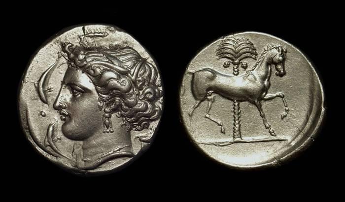 Ancient Coins - SICULO-PUNIC. AR Tetradrachm (16.93g), c. 330-320 BC.