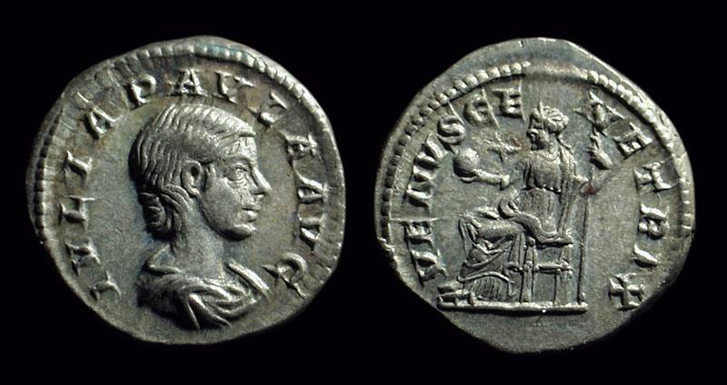 Ancient Coins - Julia Paula, Wife of Elagabalus. AR Denarius (3.64g). w/ pedigree