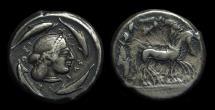 Ancient Coins - SICILY, Syracuse. AR Tetradrachm (10.19g), c. 485-479 BC.