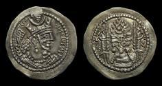 Ancient Coins - SASANIAN EMPIRE. Varhran V, AD 420-438. AR Drachm (4.09g).  Ray mint