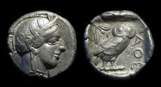 Ancient Coins - ATTICA, Athens. AR Tetradrachm (17.16g), c. 454-404 BC.