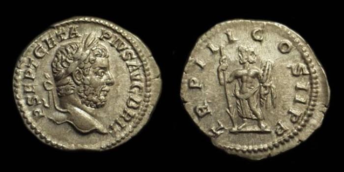 Ancient Coins - GETA, AD 209-212. AR Denarius (2.94g). Janus reverse