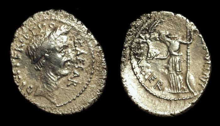 Ancient Coins - Julius Caesar, as Perpetual Dictator, 44 BC.  AR Denarius (3.56g).