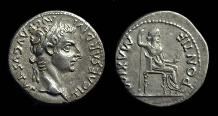 """Ancient Coins - TIBERIUS, AD 14-38. AR Denarius (3.63g) """"Tribute Penny"""""""