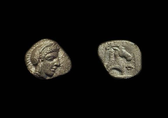 Ancient Coins - THESSALY, Pharsalos. AR Hemiobol (0.45g), c. 440-425 BC.