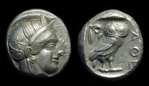 Ancient Coins - ATTICA, Athens. AR Tetradrachm (17.22g), c. 454-404 BC.