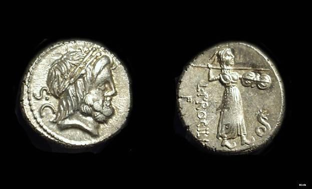 Ancient Coins - L Procilius, circa 80 BC. AR Denarius (4.09g).