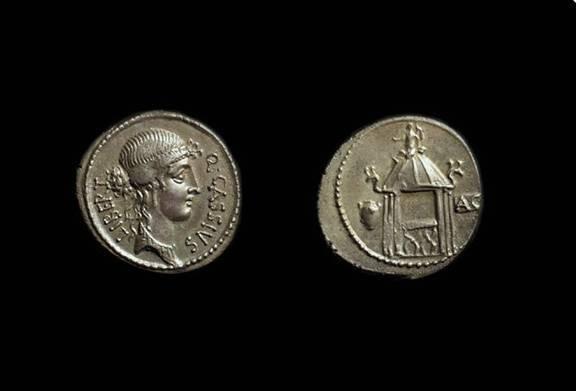 Ancient Coins - Q Cassius Longinus, c. 55 BC. AR Denarius (3.72g).